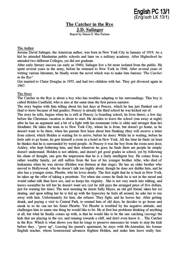 "thesis paper on catcher in the rye Homepage writing samples academic writing samples essay samples summary essay samples ""catcher in the rye is to be the catcher in the rye thesis."