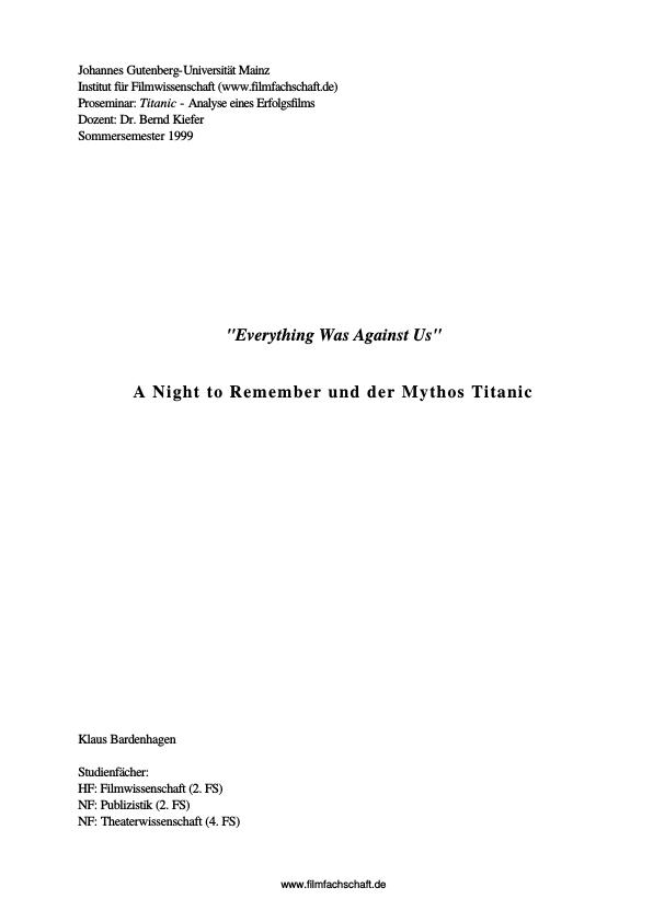 """essay on the book a night to remember A night to remember - essay  topics: rms titanic, titanic, james cameron  the title """"night"""" is a fitting choice for this book because it was such a dark time in both the elie's life and."""