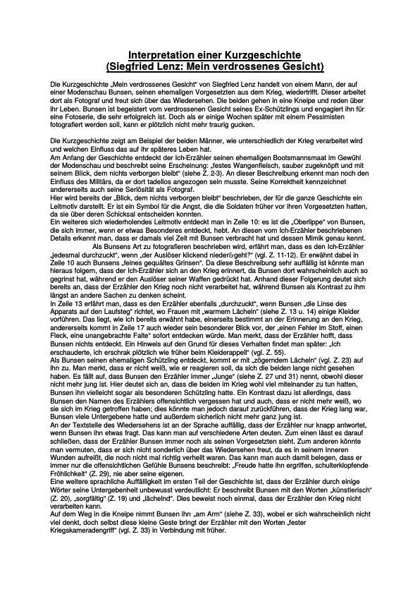 Arbeitsblatt Interpretation Kurzgeschichte : Lenz sigfried mein verdrossenes gesicht