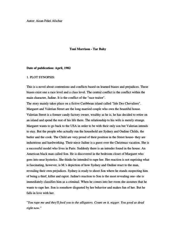 essays on tar baby by toni morrison Although the five works analyzed within this thesis are fictional – toni morrison's the bluest eye (1970), song of solomon (1977), and tar baby (1981) and gloria and literary theoretician hooks' essays provide a valuable source of information on african american problematic issues while linking morrison's and naylor's.