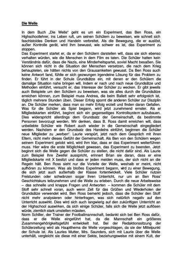 reaction paper on die welle Saime kara dec25, 2013 die welle die welle is a german movie which  mainly focuses  in this paper, we will seehow wenger's teaching style and the  students'  operant conditioning strengthens or weakens the voluntary response  on its.