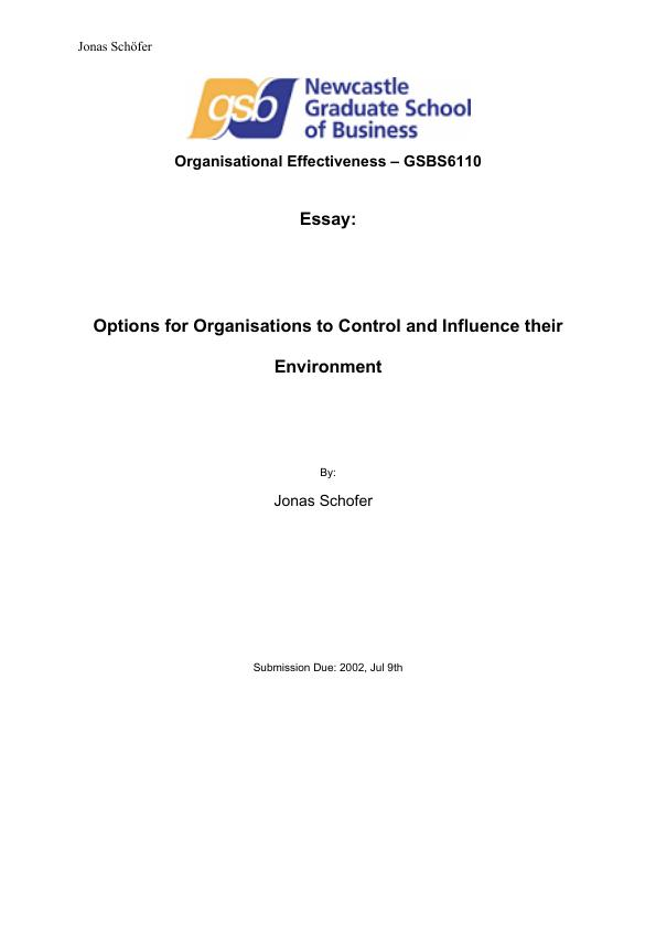 organisations in their environment management essay The three organizational theories are the best way to manage organizationtheir are essayukcom/free-essays/management/3-organizational.