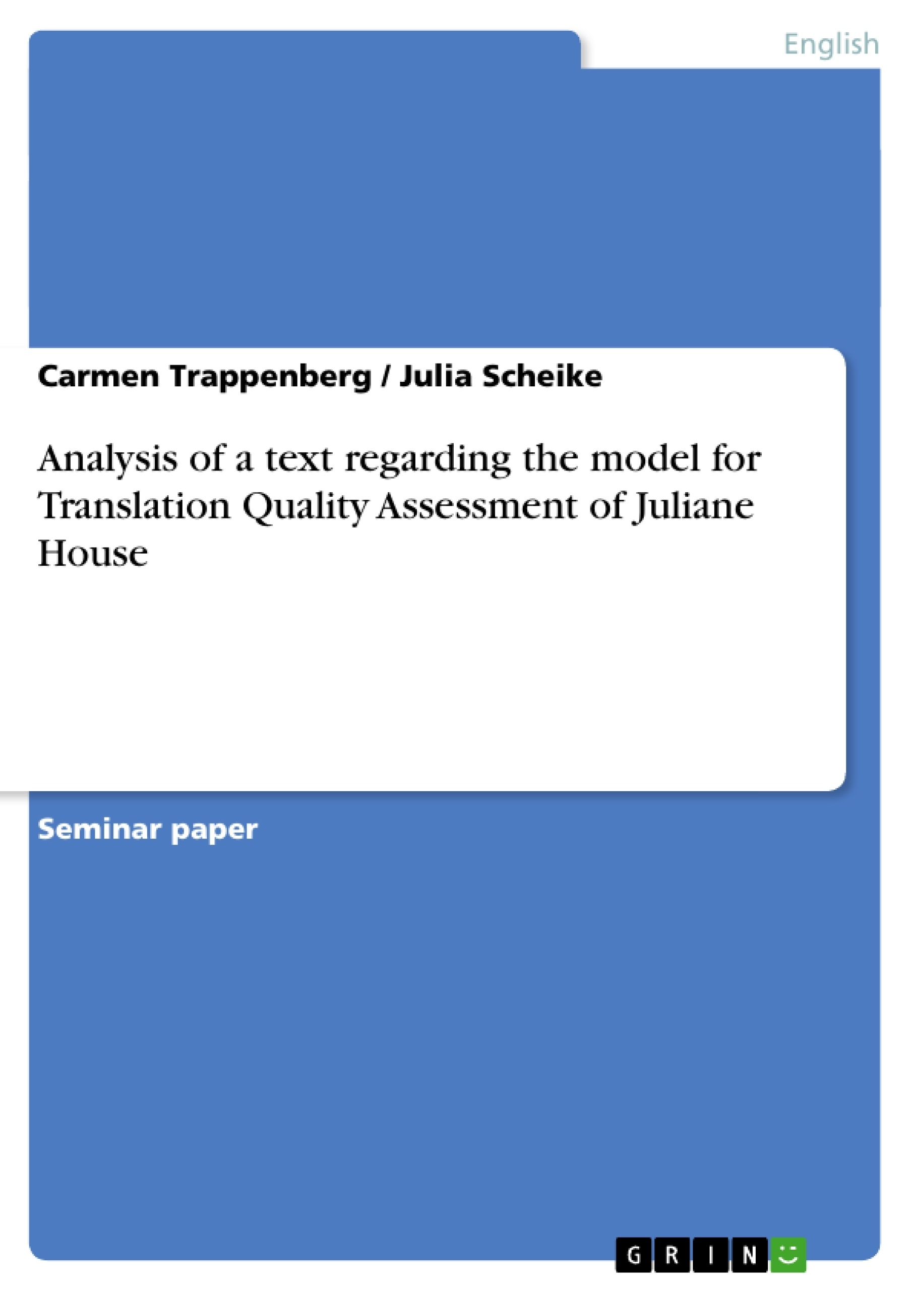 analysis of a text regarding the model for translation quality