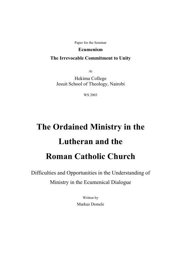 Black catholic ministry essay