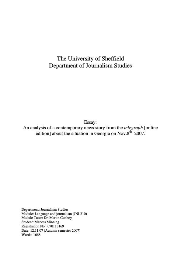 analysis of a news story essay Newspaper articles: might be useful evidence for an essay in history,  a  literature essay, it's crucial that you include some close analysis of.