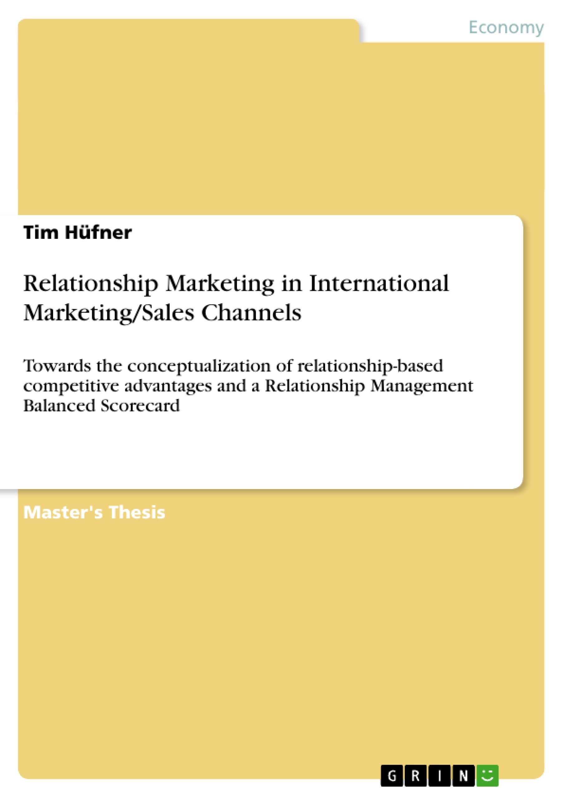 relationship marketing bachelor thesis Social media marketing in a small business: a relationship marketing this chapter provides a brief overview of the study presented in this thesis.