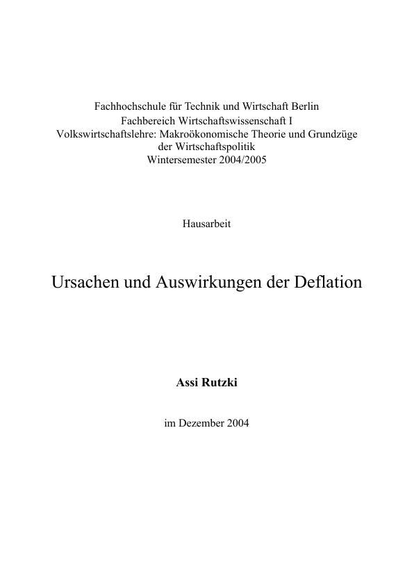 Auswirkungen Einer Deflation : ursachen und auswirkungen der deflation masterarbeit ~ Lizthompson.info Haus und Dekorationen