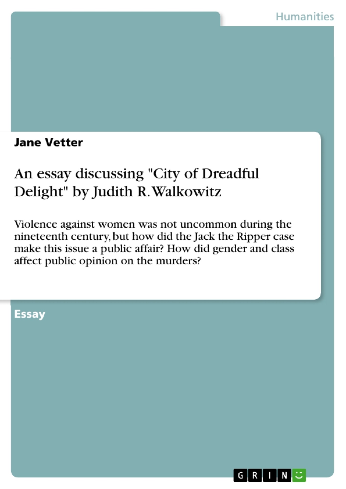 an essay discussing city of dreadful delight by judith r an essay discussing city of dreadful delight by judith r walkowitz publish your master s thesis bachelor s thesis essay or term paper