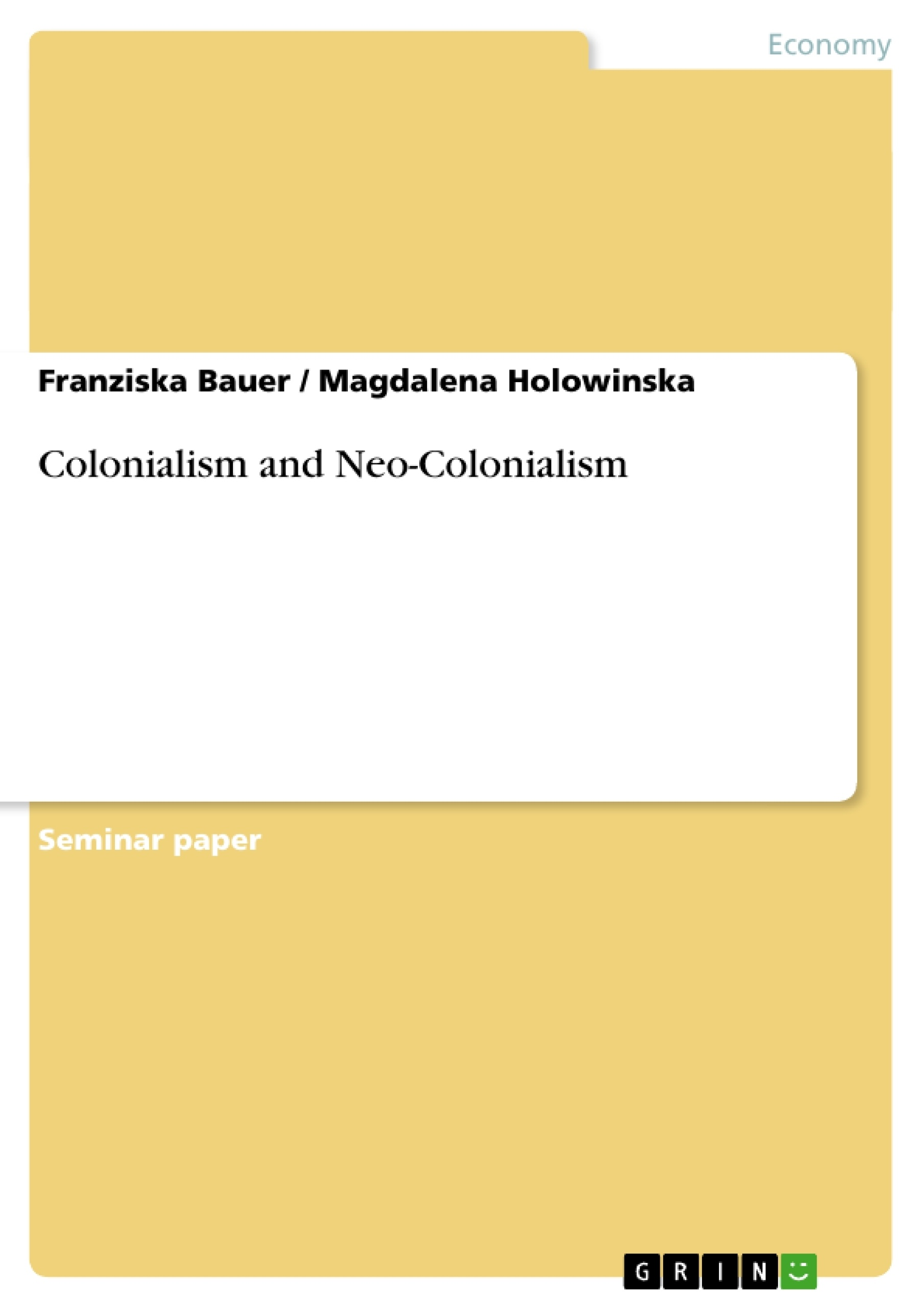 neo colonialism essays After colonialism ended, the social phenomenon of neo-colonialism began the country is free from direct foreign rule but the economic infrastructure is still in read full essay.