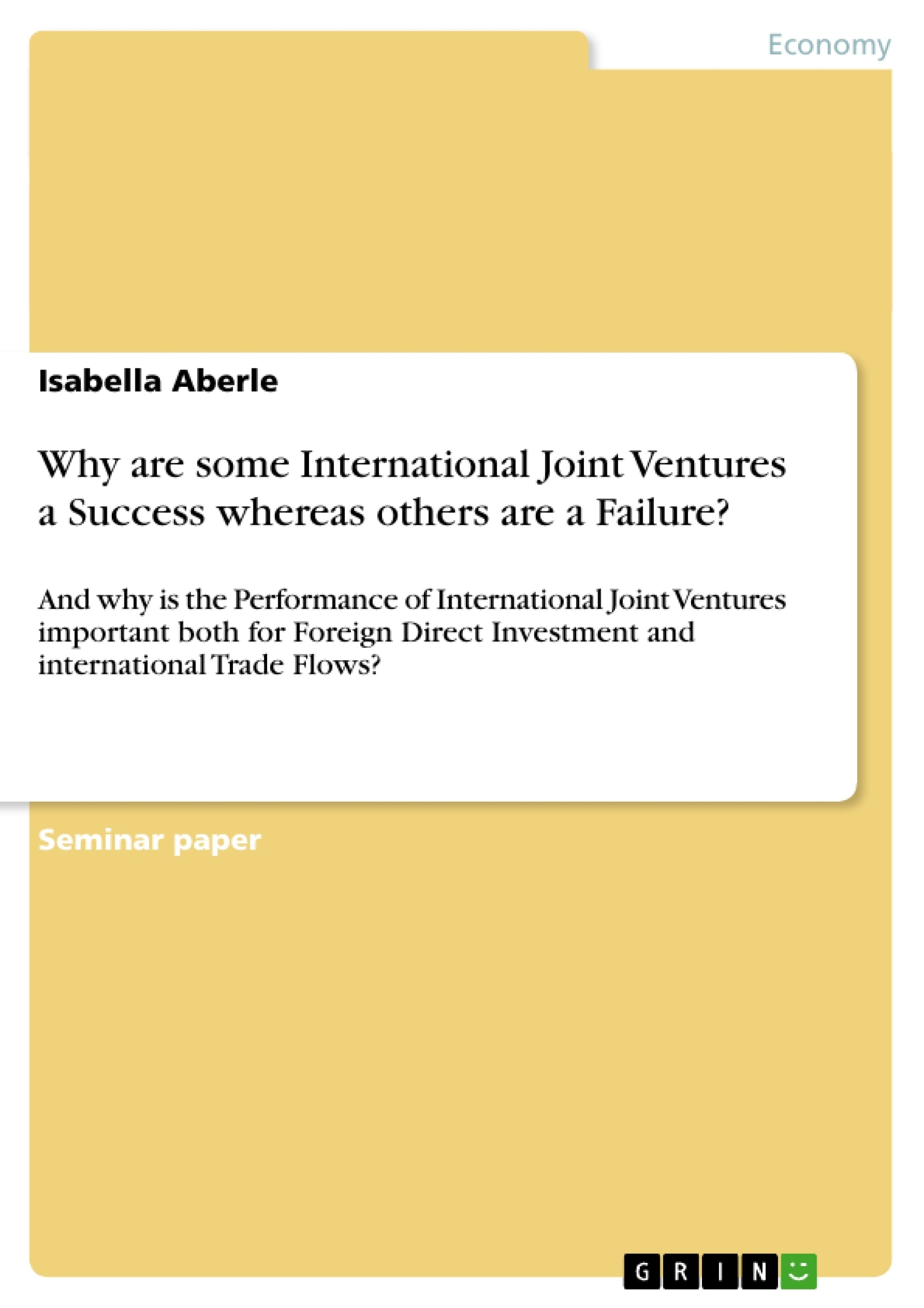 study of international joint ventures management essay International joint venture (ijv) research largely omits social and cognitive   social enactment processes in a british-italian, shared management joint venture.