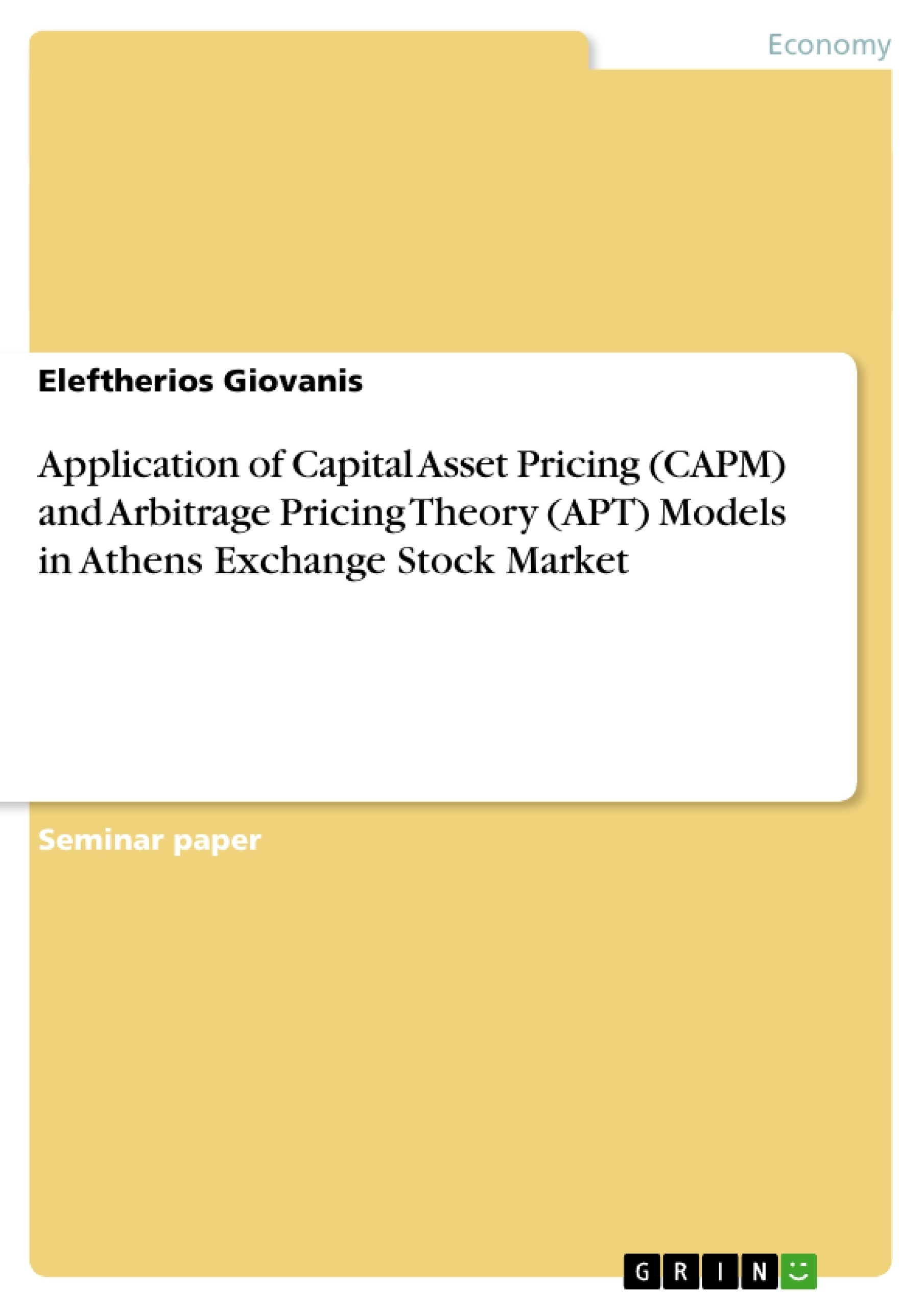 arbitrage pricing theory research papers Term paper on dividend discount model, capital asset pricing model and arbitrage pricing theory.