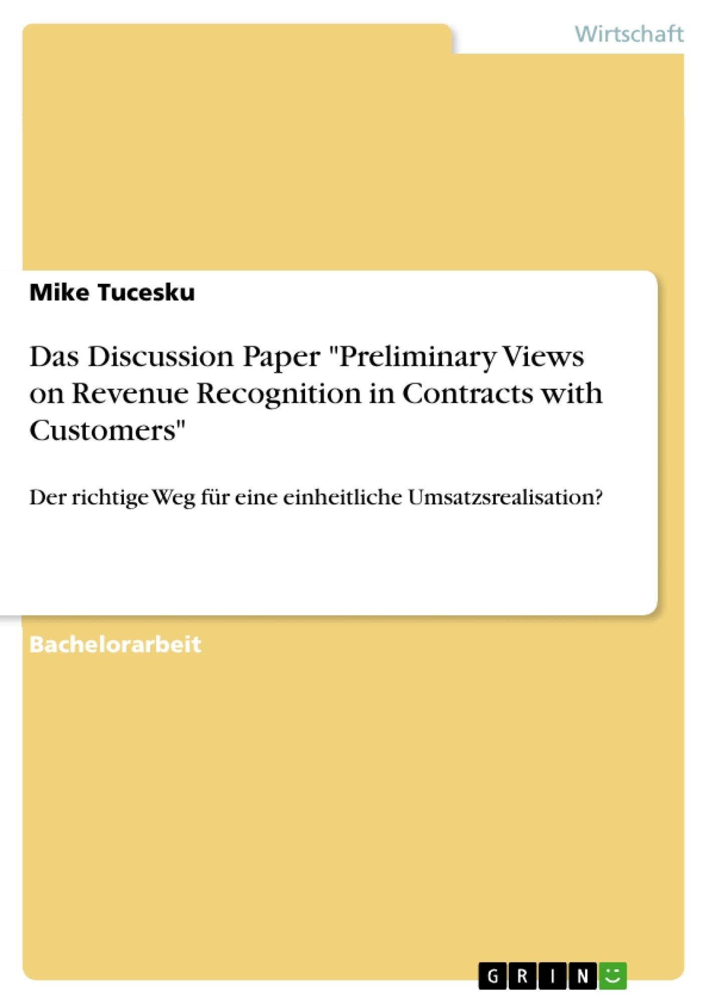 revenue recognition essay This webcast will discuss the revenue recognition standard which will soon  replace all existing ifrs revenue related regulations this webcast will also  present.