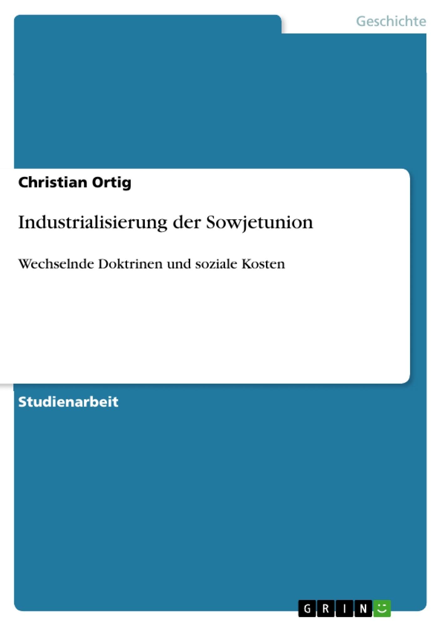 Industrialisierung der sowjetunion masterarbeit for Minimalismus hausarbeit