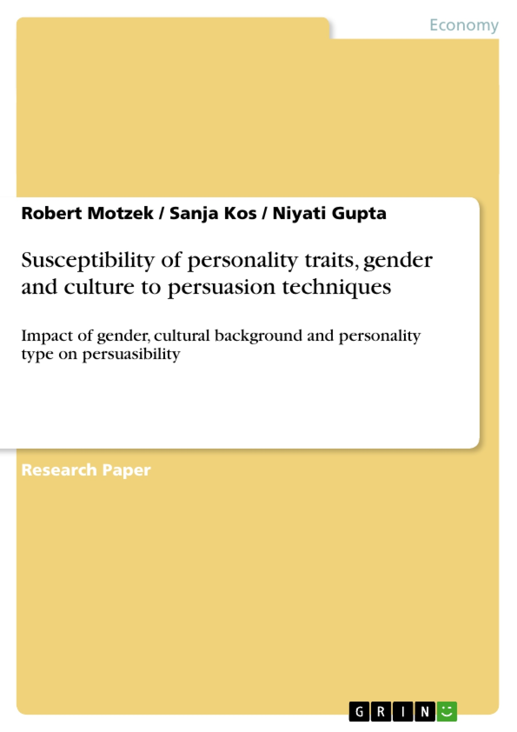 susceptibility of personality traits gender and culture to susceptibility of personality traits gender and culture to publish your master s thesis bachelor s thesis essay or term paper