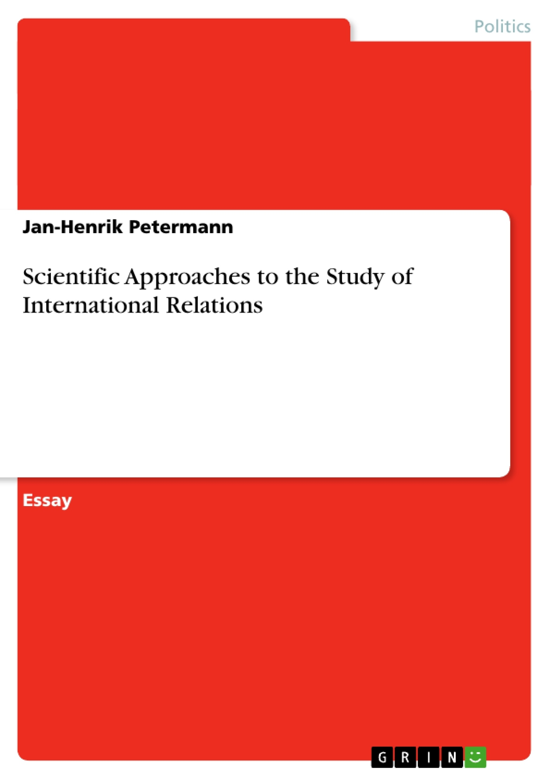 Scientific Approaches To The Study Of International Relations   Scientific Approaches To The Study Of International Relations