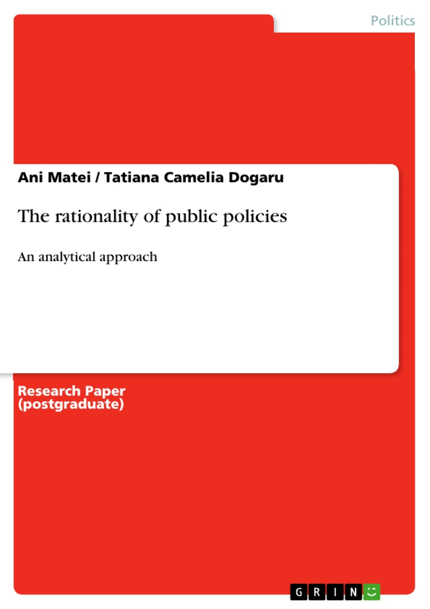 The rationality of public policies | Publish your master's thesis ...