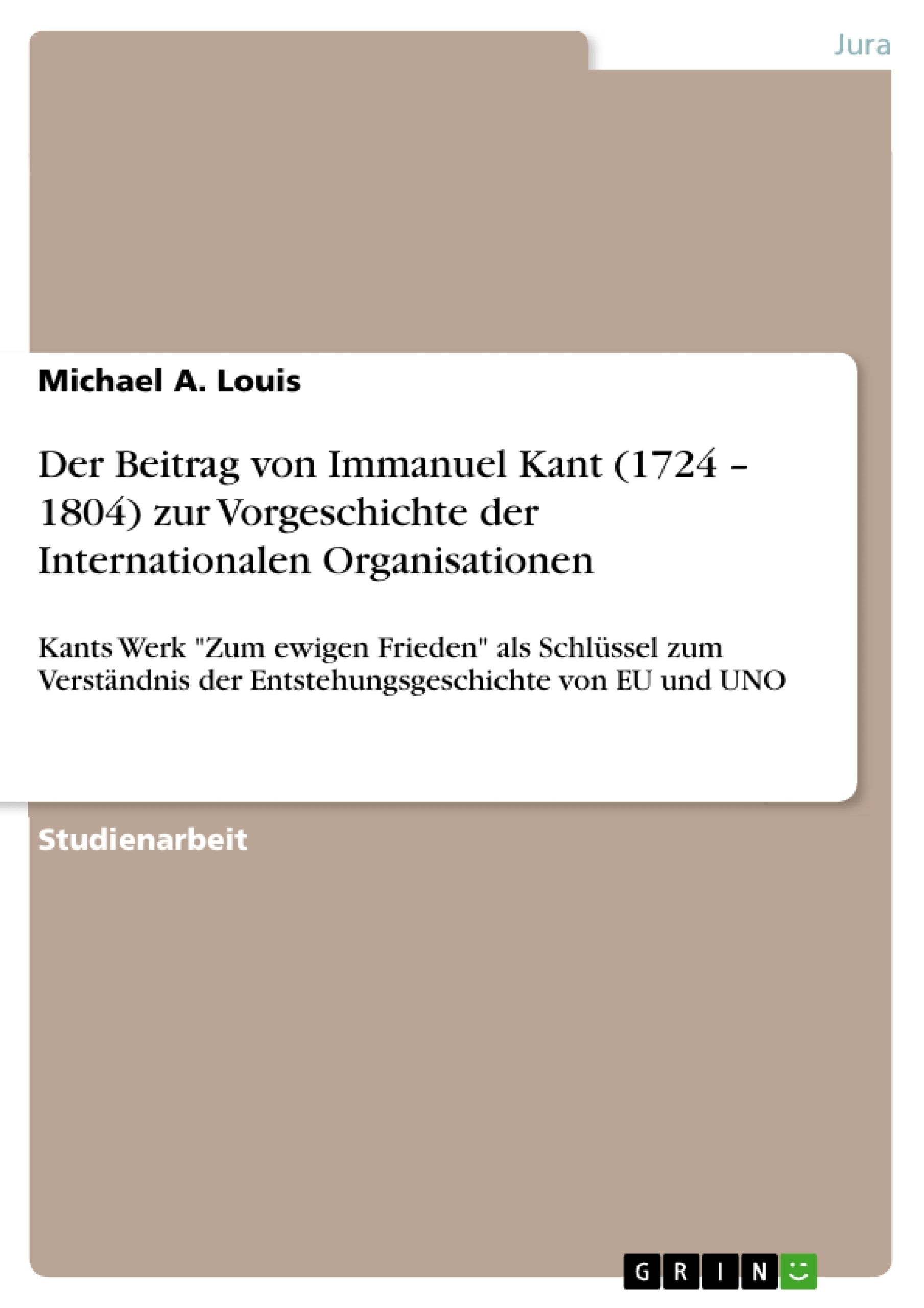 immanuel kant 1724 1804 essay German enlightenment philosopher immanuel kant (1724–1804) and an  might  be referred to as kant's race theory, the second as his philosophy of biology kant   tanism    evident in such essays as his 'idea for a universal history with.