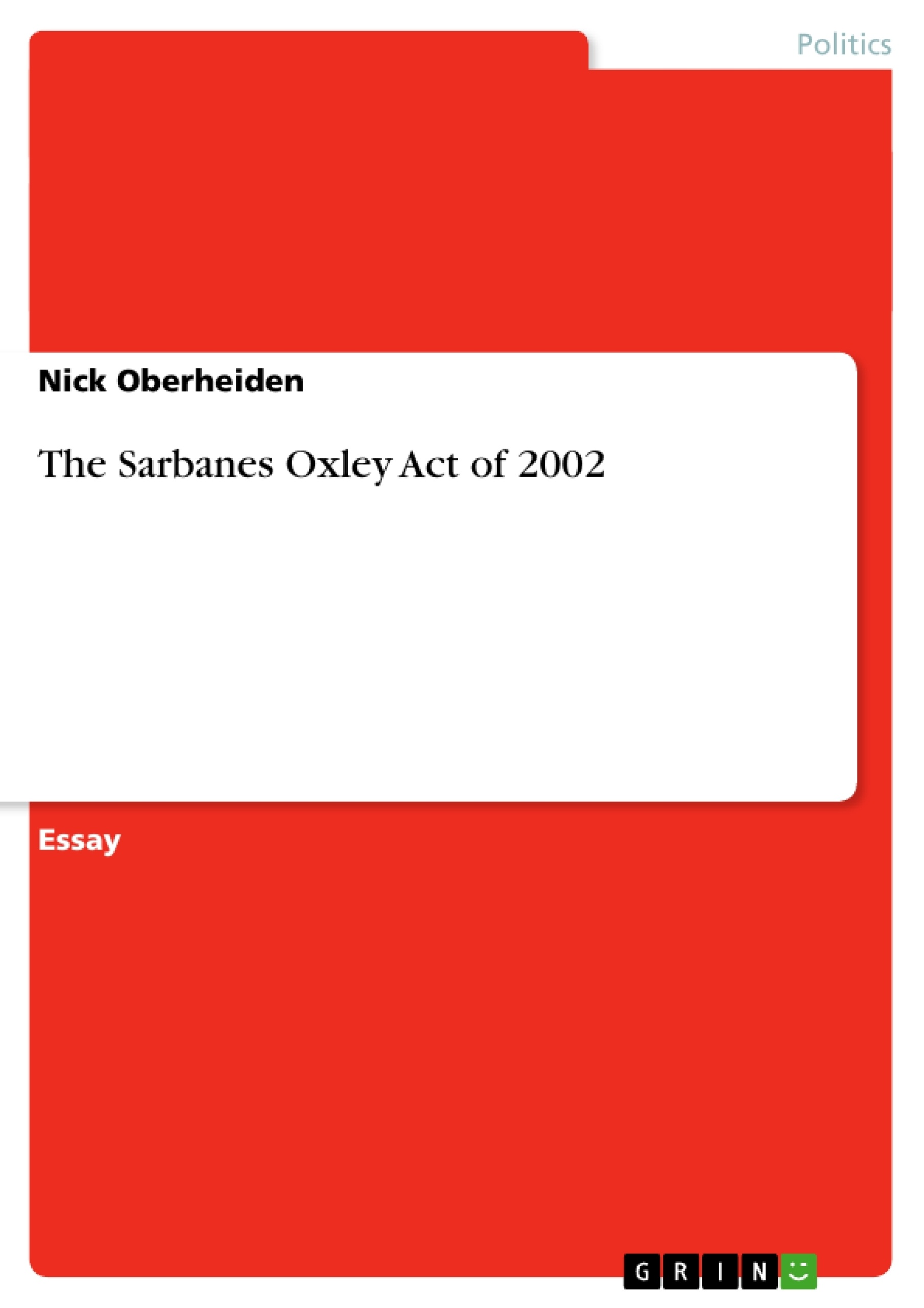 sarbanes oxley act 2002 research paper