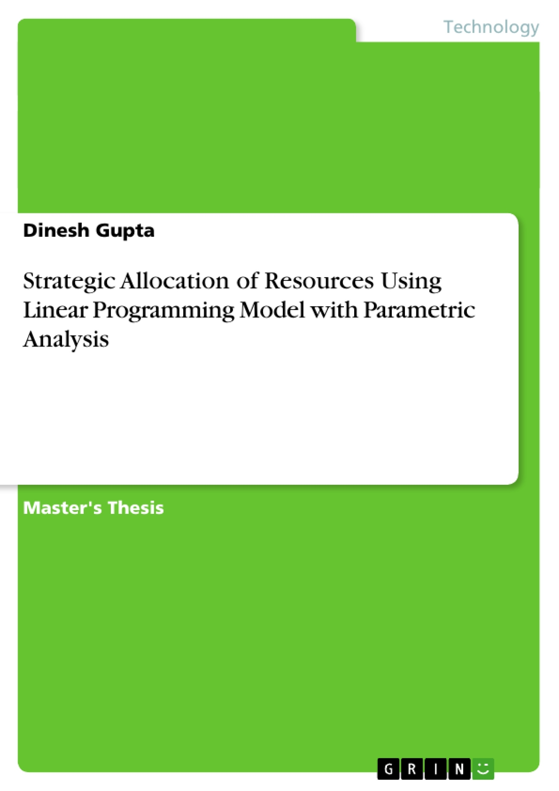 phd. thesis on linear programming A collection of rand research on the topic of linear programming.