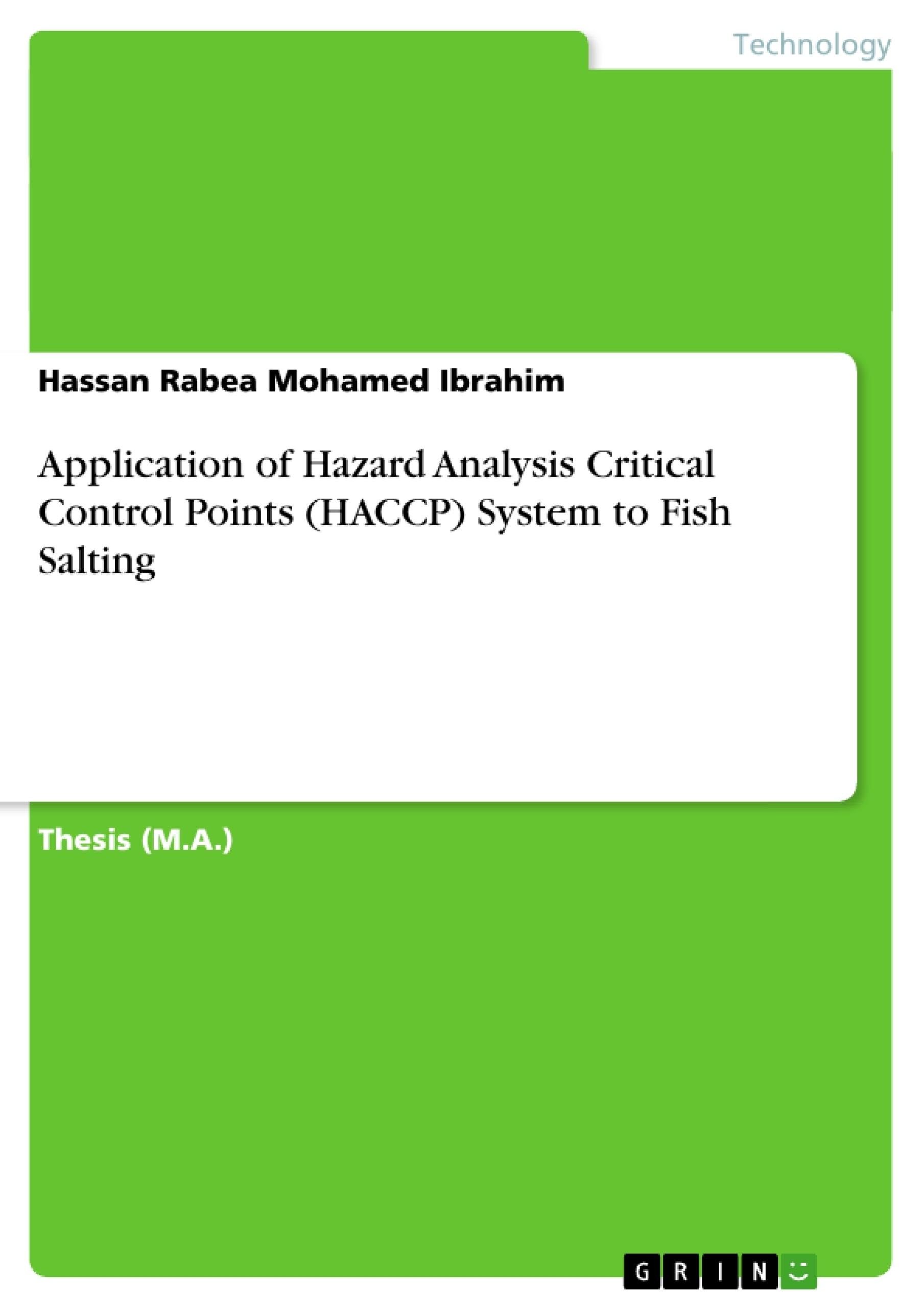 Application Of Hazard Analysis Critical Control Points Haccp