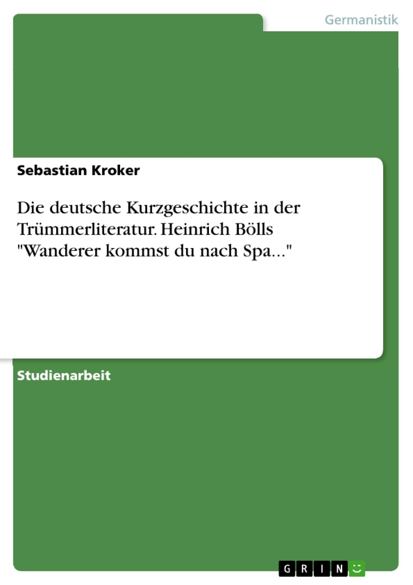 die deutsche kurzgeschichte in der tr mmerliteratur heinrich hausarbeiten publizieren. Black Bedroom Furniture Sets. Home Design Ideas