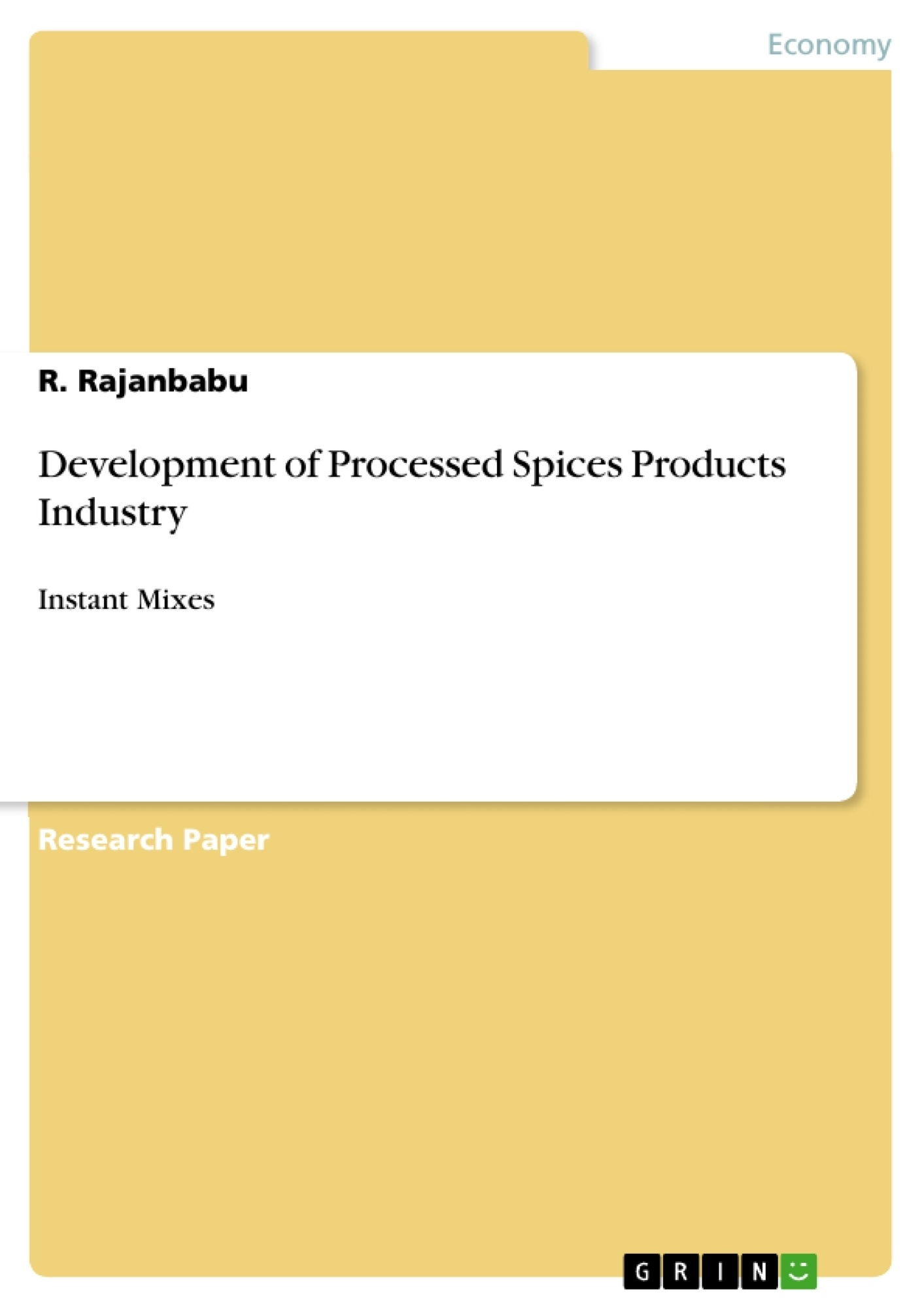 Development Of Processed Spices Products Industry