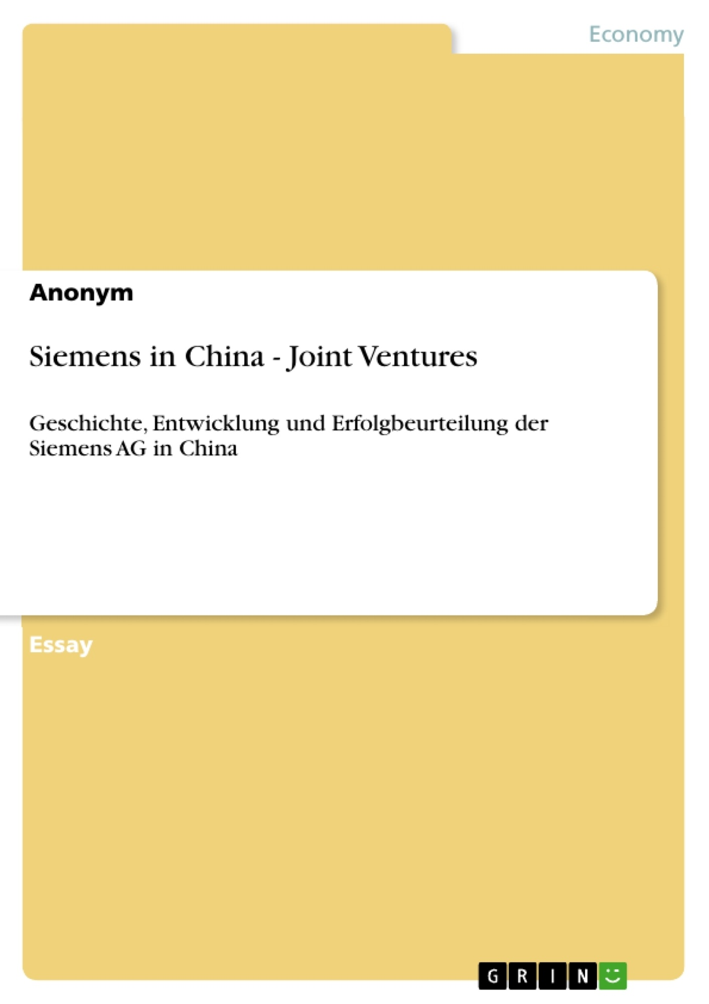 Joint Venture in China