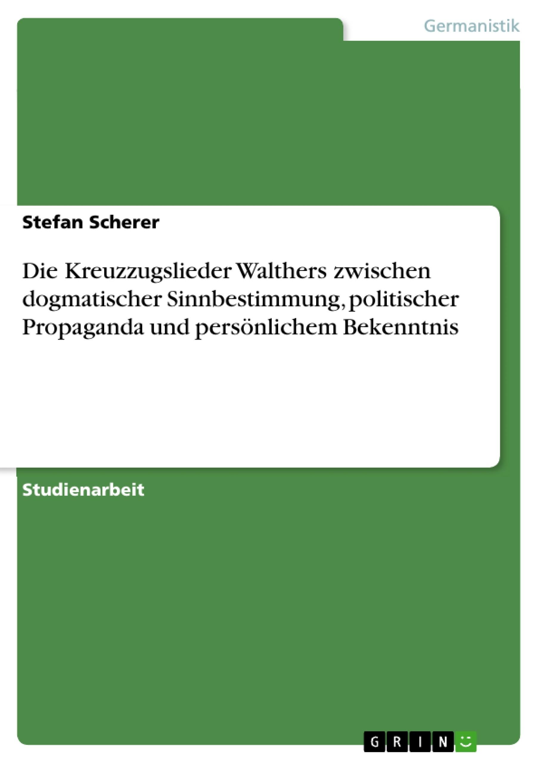 Walther von der Vogelweide kreuzzugslied