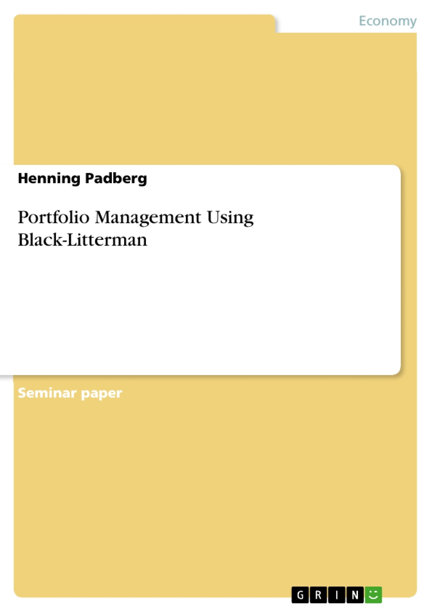 Black litterman paper