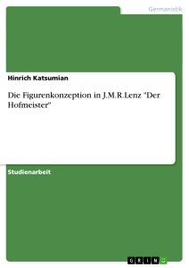 "Titel: Die Figurenkonzeption in J.M.R.Lenz ""Der Hofmeister"""
