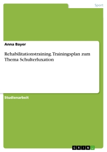 Titel: Rehabilitationstraining. Trainingsplan zum Thema Schulterluxation