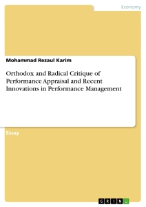 orthodox and radical critique of performance appraisal and recent orthodox and radical critique of performance appraisal and recent innovations in performance management essay