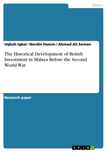 Title: The Historical Development of British Investment in Malaya Before the Second World War