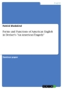 "Title: Forms and Functions of American English in Dreiser's ""An American Tragedy"""