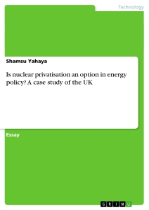 Titel: Is nuclear privatisation an option in energy policy? A case study of the UK