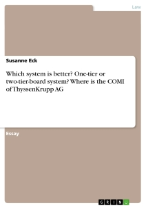 Titel: Which system is better? One-tier or two-tier-board system? Where is the COMI of ThyssenKrupp AG