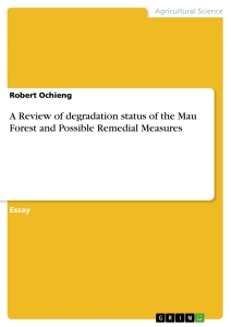 Titel: A Review of degradation status of the Mau Forest and Possible Remedial Measures