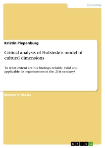 Titel: Critical analysis of Hofstede's model of cultural dimensions