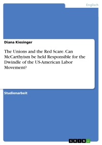 Titel: The Unions and the Red Scare. Can McCarthyism be held Responsible for the Dwindle of the US-American Labor Movement?