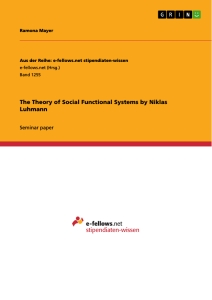 Titel: The Theory of Social Functional Systems by Niklas Luhmann