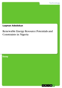 Titel: Renewable Energy Resource Potentials and Constraints in Nigeria
