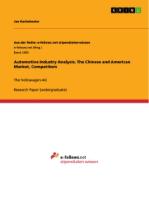 Titel: Automotive Industry Analysis. The Chinese and American Market, Competitors