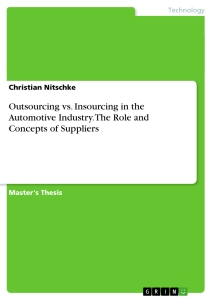 Title: Outsourcing vs. Insourcing in the Automotive Industry. The Role and Concepts of Suppliers