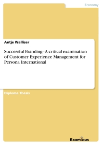 Titel: Successful Branding - A critical examination of Customer Experience Management for Persona International