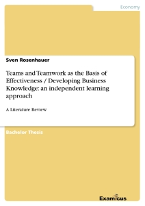 Titel: Teams and Teamwork as the Basis of Effectiveness / Developing Business Knowledge: an independent learning approach