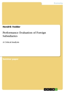 Title: Performance Evaluation of Foreign Subsidiaries