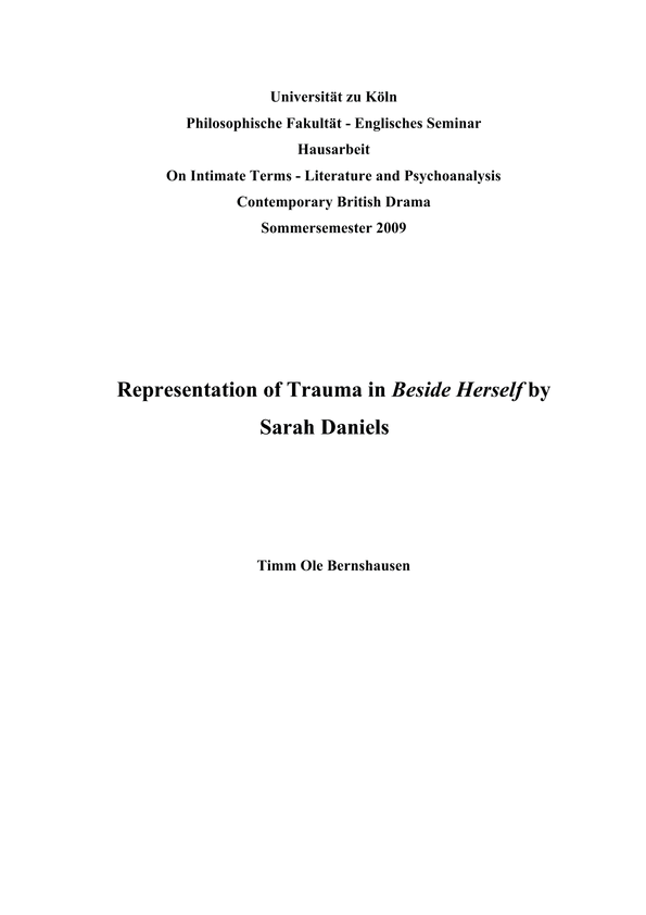 Representation of trauma in contemporary british drama