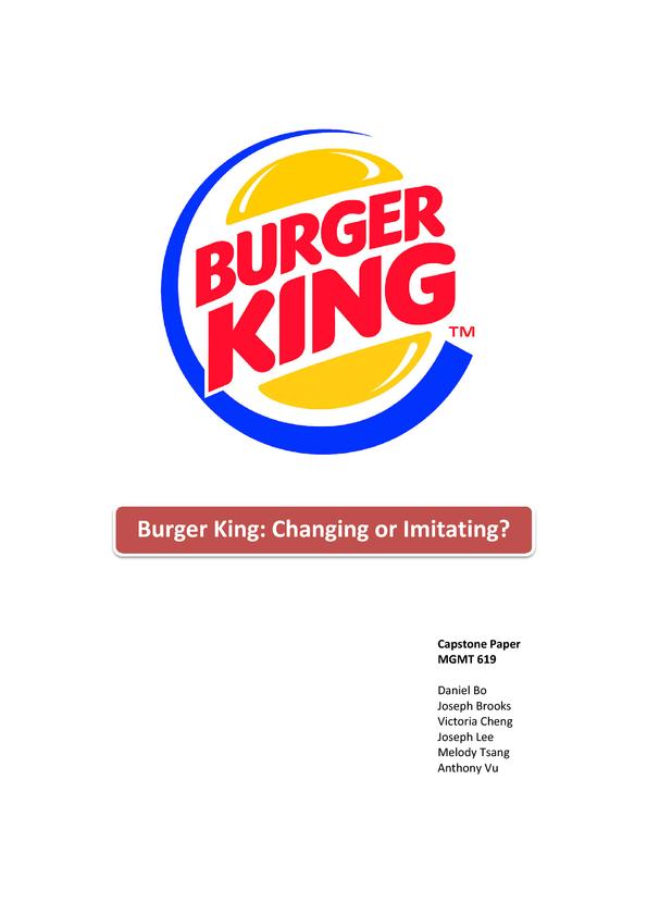 burger king changing or imitating hausarbeiten publizieren. Black Bedroom Furniture Sets. Home Design Ideas