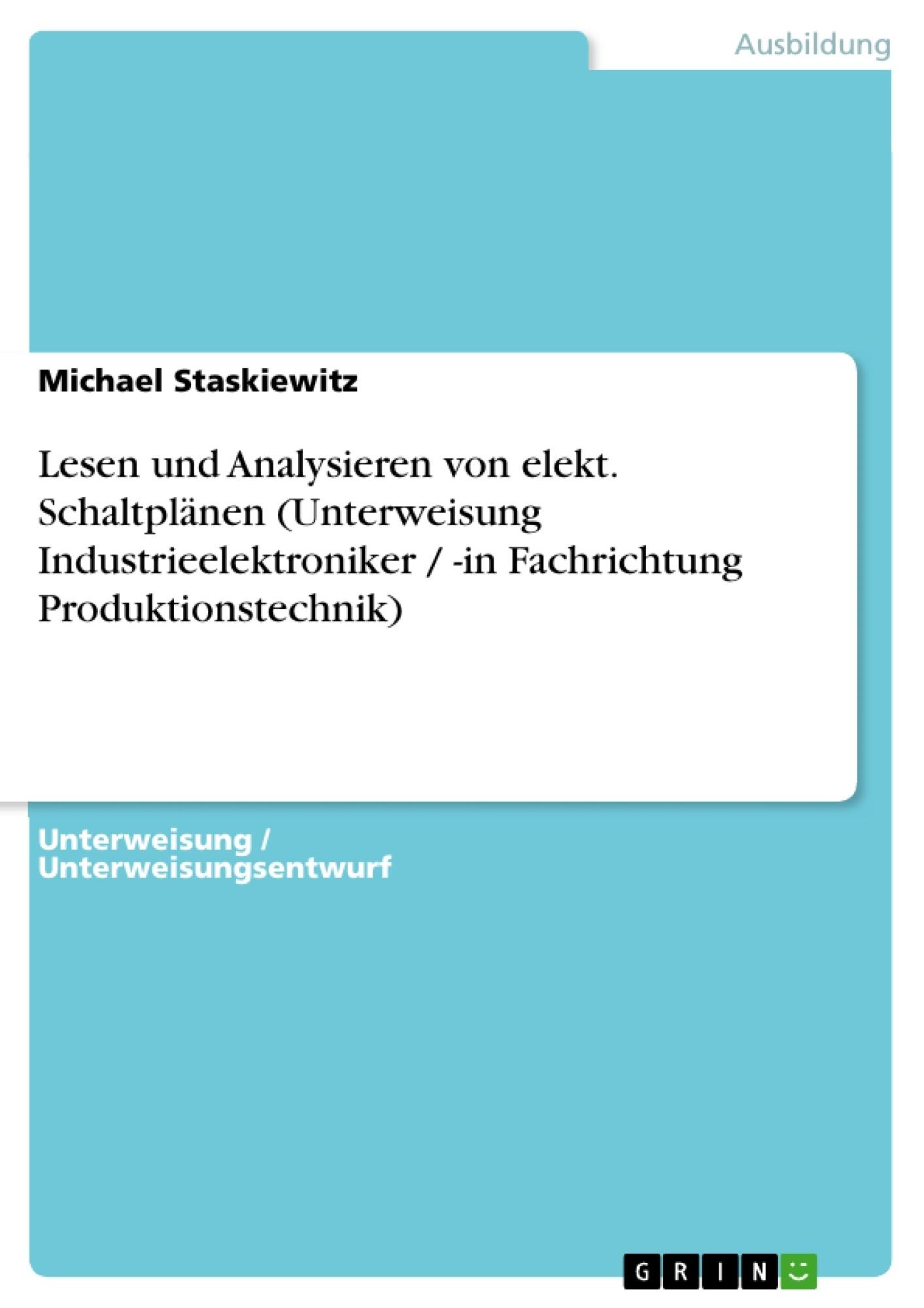 Lesen und Analysieren von elekt. Schaltplänen (Unterweisung ...
