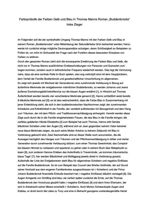 Mann, Thomas - Buddenbrooks - Farbsymbolik der Farben Gelb und Blau ...